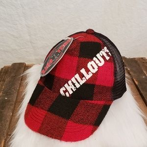 Plaid blk & red hat. Chillout